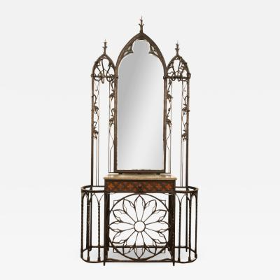 A rare French iron Gothic style hall rack c 1880