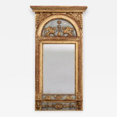 A rare richly carved mirror original paint circa 1790 1810