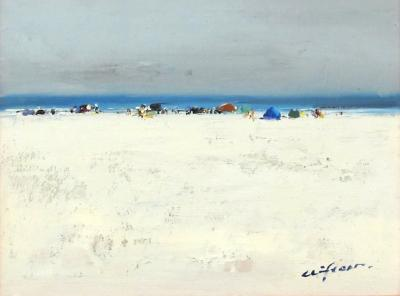 A serene impressionist beach scene painting signed Clifton