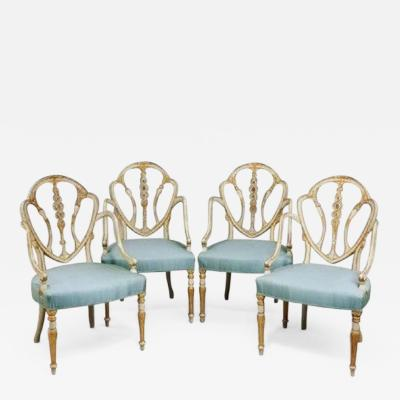 A set of 10 delicate Hepplewhite period armchairs