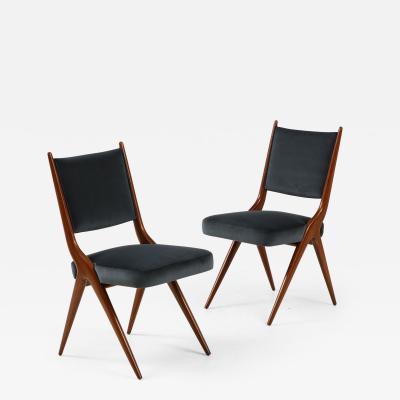 A set of Six mid century modern dining chairs Solid Italian Walnut