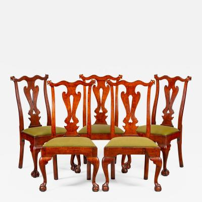 A set of five side chairs with heart pierced splats