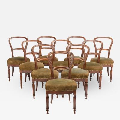 A set of ten 19th Century Irish walnut dining chairs