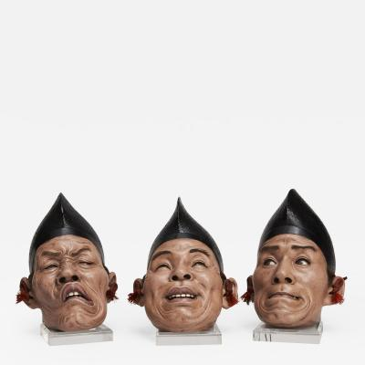 A set of three Japanese Iki Ningyo masks