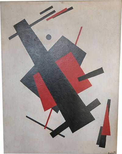 A signed constructivist oil on canvas Russian 40