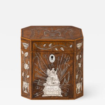 A silver inlaid caddy commemorating the death of Admiral Lord Nelson