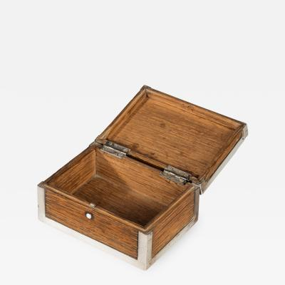A silver mounted oak box from the ships timbers of HMS Victor Emmanuel