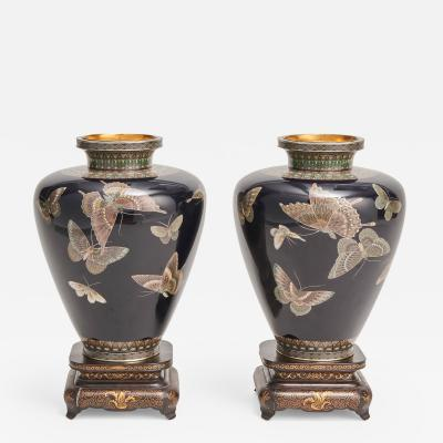 A stunning pair of Japanese Cloisonn vases