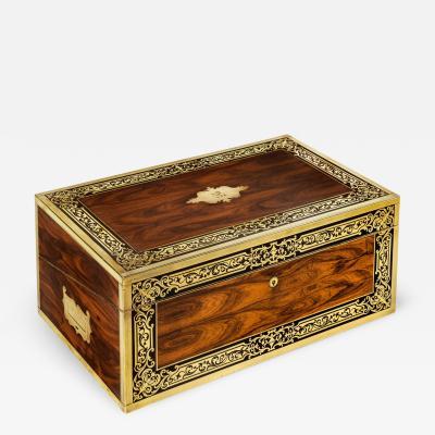 A superb William IV brass inlaid kingwood writing box by Edwards