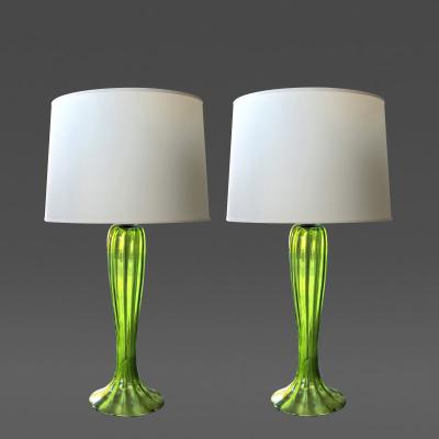 A tall pair of Murano 1960s apple green art glass trumpet flower vases