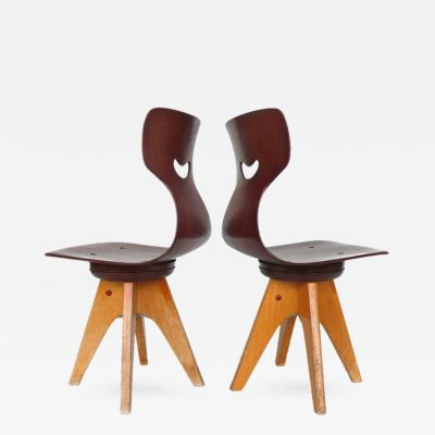 ADAM Stegner Pair of Modernist Bentwood Adam Stegner Childrens Chairs Pagho 1960s