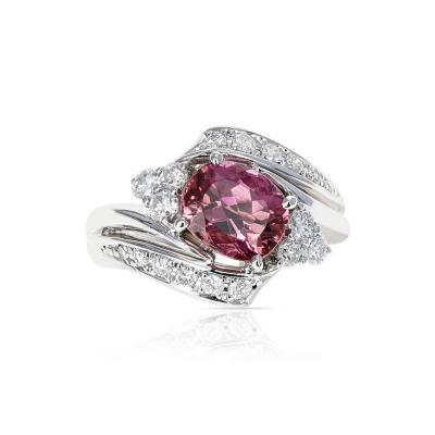 AGL CERTIFIED 2 17 CT NATURAL IMPERIAL PINK TOPAZ RING WITH DIAMONDS PLATINUM