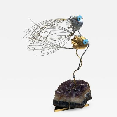 AMETHYST GEODE MODERNIST FISH SCULPTURE
