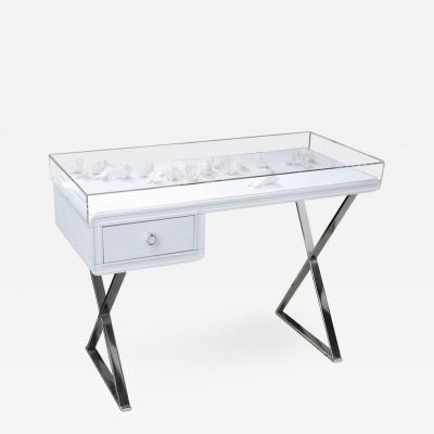 AMK for Patricia Kagan Lucite Object Dart Lacquer and Chrome X Base Desk by AMK for Patricia Kagan