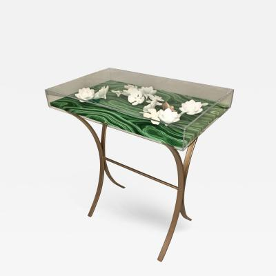 AMK for Patricia Kagan Lucite Porcelain Object DArt of Rose Metal Side Table by AMK for Patricia Kagan