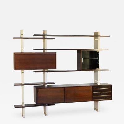 AMMA Bookcase Amma Lacquered Wood Brass Turin Italy 1960s