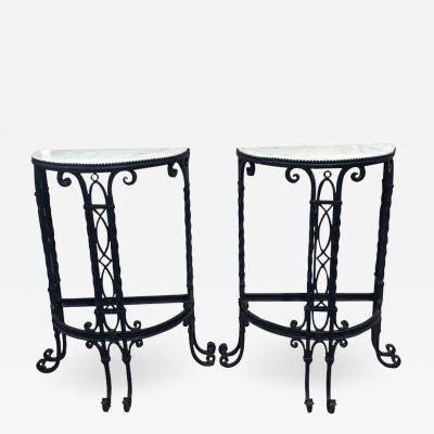 ANTIQUE FRENCH IRON DEMI LUNE TABLES A PAIR