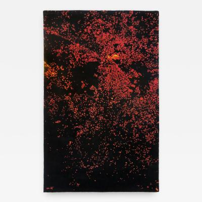 ARIEL ROJO Odabashian rugs FOCO ROJO rug tapestry with a aerial view of Mexico City by night
