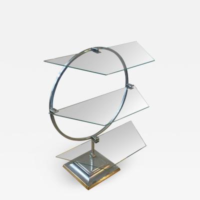 ART DECO MODERNIST CHROME AND GLASS DISPLAY SHELF
