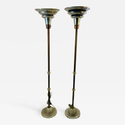 ART DECO PAIR OF TRIPLE TIER TORCHIERE LAMPS
