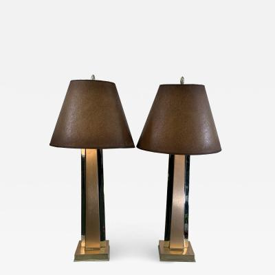 ART MODERNE PAIR OF ANNODIZED ALUMINUM AND CHROME LAMPS