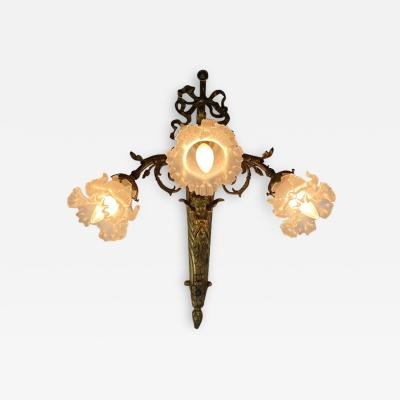 ART NOUVEAU FRENCH BRONZE CUPID SCONCE WITH THREE FANCY GLASS FLOWER SHADES