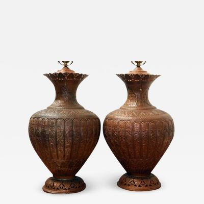 ARTS AND CRAFTS COPPER TABLE LAMPS