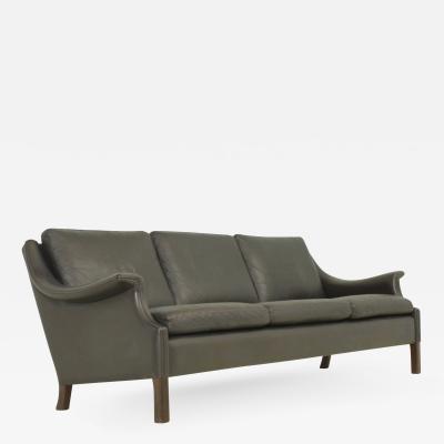 Aage Christensen Aage Christiansen Three seater Sofa in Dark Brown Leather