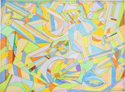 Aaron Marcus Aaron Marcus Abstract Geometric Oil on Canvas Dated 2010