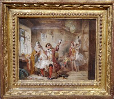 Abraham Solomon Backstage at the Theatre Royal an Oil Painting by Abraham Solomon