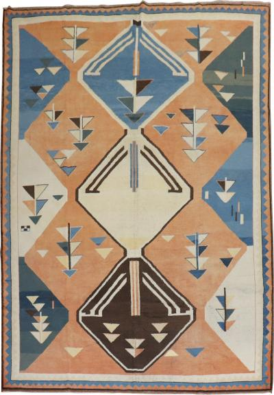 Abstract 20th Century Turkish Geometric Deco rug no 31502