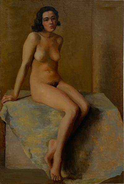 Academic Oil on Canvas of a Female Nude Circa 1930
