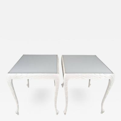 Acanthus Leaf Carved Tables with White Glass Tops