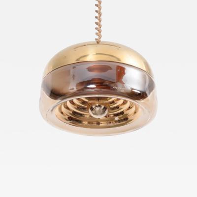 Achille Castiglioni Glass and Brass Pendant Lamp in the Style of Castiglioni Italy 1970s