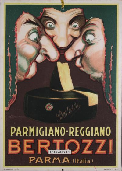 Achille Luciano Mauzan Italian Art Deco Period Carton Poster for Parmesan Cheese by Mauzan Circa 1930