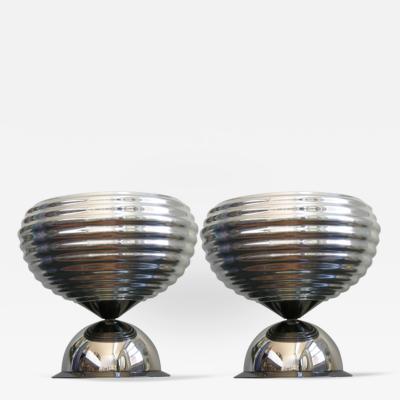 Achille Pier Giacomo Castiglioni Flos 1960s Silver Tone Pair of Castiglioni Round Polished Aluminum Table Lamps