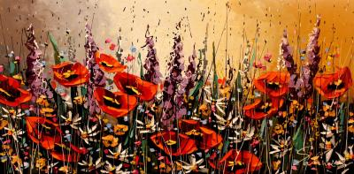 Acrylic Floral Original Painting by Russian Artist Sabina