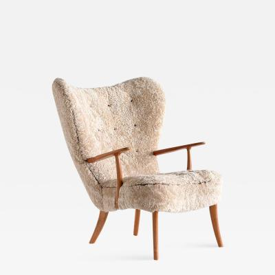 Acton Schubell Acton Schubell Ib Madsen Pragh Wingback Chair in Sheepskin Denmark 1950s