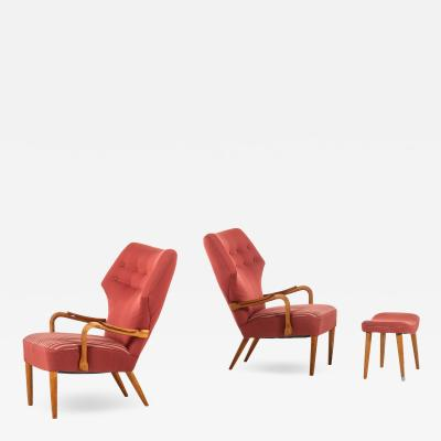 Acton Schubell Easy Chairs and Stool Produced by E Sv Olsen