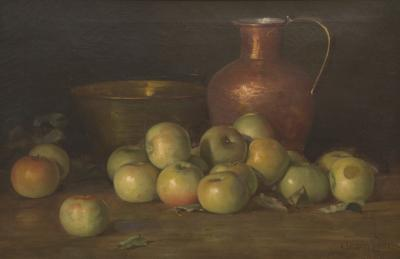 Adam Lehr Still Life with Green Apples and Copper Vessels