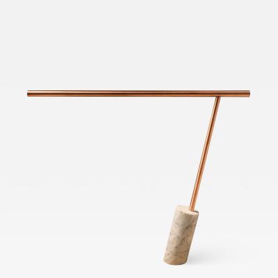Adam Ruiz Original Copper Marble Table Lamp Signed by Adam Ruiz Cyril Fuchs