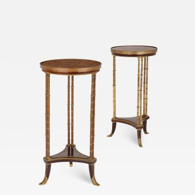 Adam Weisweiler Pair of Neoclassical style round side tables manner of Adam Weisweiler