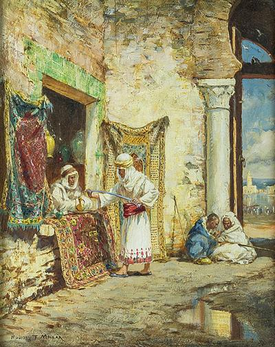 Addison Thomas Millar A Fine Orientalist Painting of a Sword Merchant