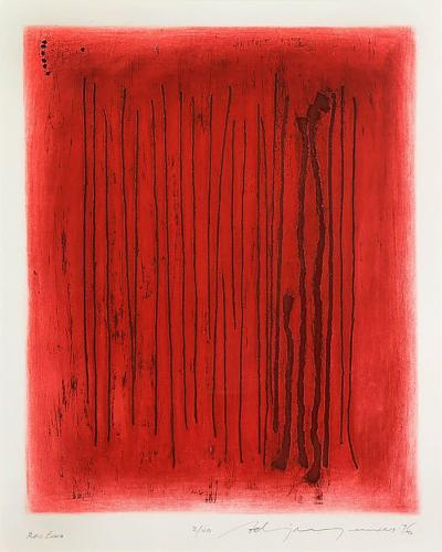 Adja Yunkers Adja Yunkers Lithograph Abstract Red Echo Black Signed USA 1970s