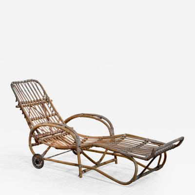 Adjustable bamboo garden chaise Germany 1930s