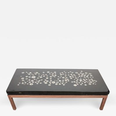Ado Chale Coffee Table By Ado Chale in black resin inlaid marcasite circa 1970