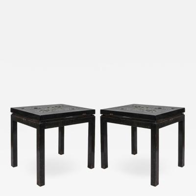 Ado Chale Pair of Side tables By Ado Chale in black resin