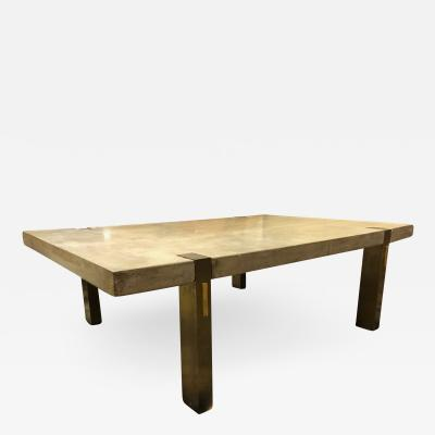 Ado Chale Vintage Architectural Concrete and Bronze Coffee Table