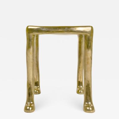 Adolfo Abej n Elegant Bronze Khamon Sculpture Stool by Adolfo Abej n circa 2000 Spain