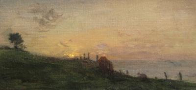 Adolphe F lix Cals Soleil couchant sur la falaise Honfleur